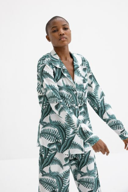 Fern Print Pajama in White Green