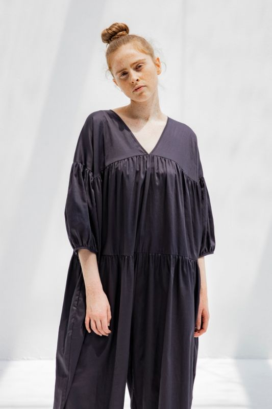 Puff Jumpsuit in Faded Black