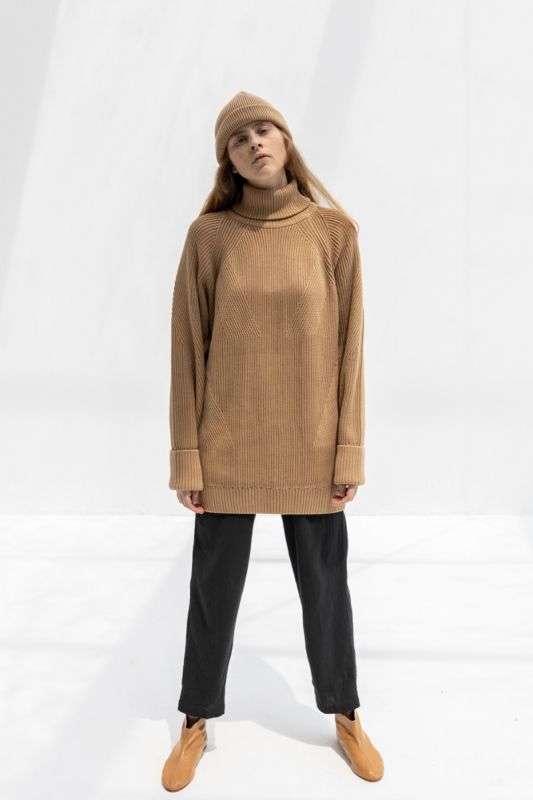 Henri Roll Neck  Jumper in Camel