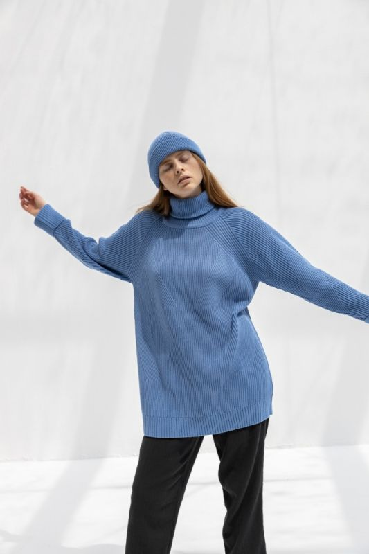 Henri Roll Neck  Jumper in Sky