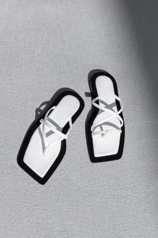 Wide Square Sole Sandal  in White