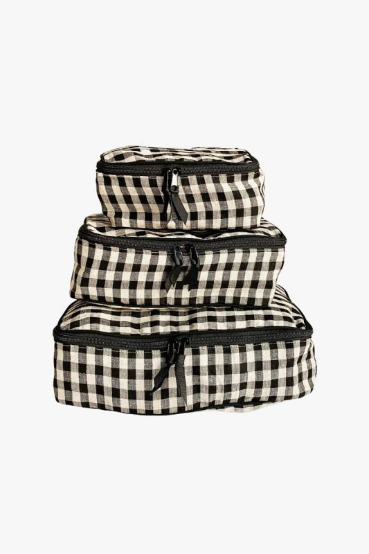 Packing Cubes in Gingham Checkered Linen