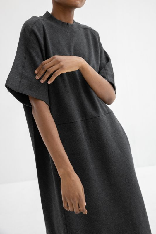 Linear T-shirt Dress in Charcoal Marle
