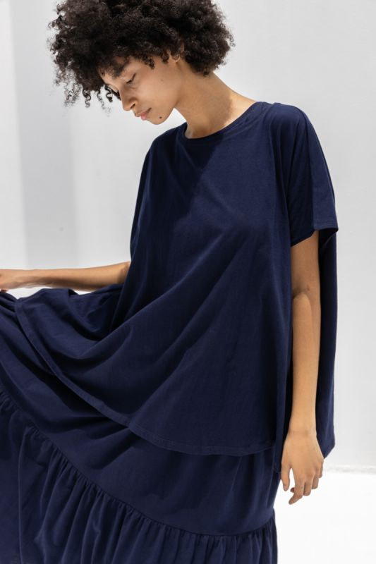 Square Tee in Navy