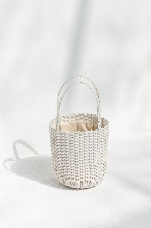 Small Bucket Tote Bag in White