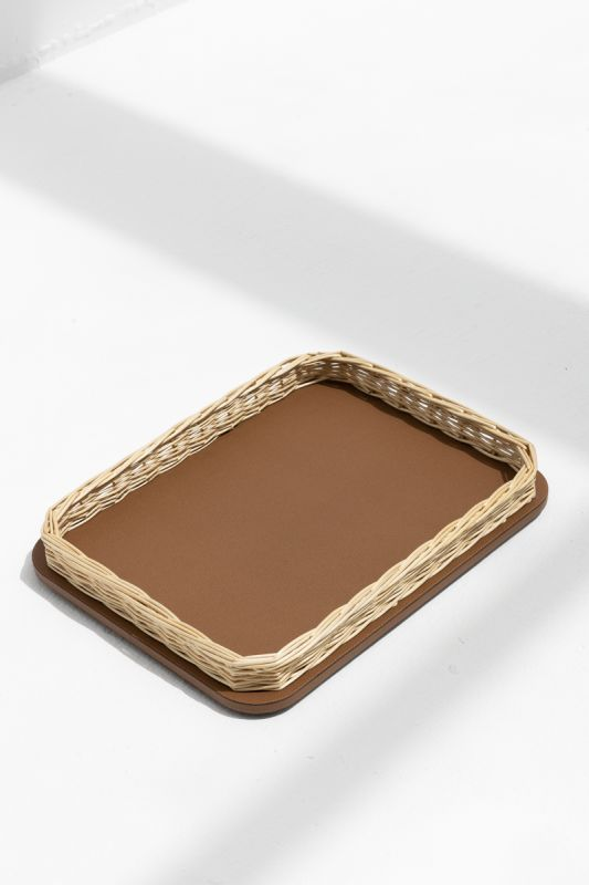 46x34xH 7 CM Orsay Tray Rectangular Rounded in Tobacco