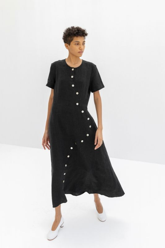 Wave Button Dress in Black