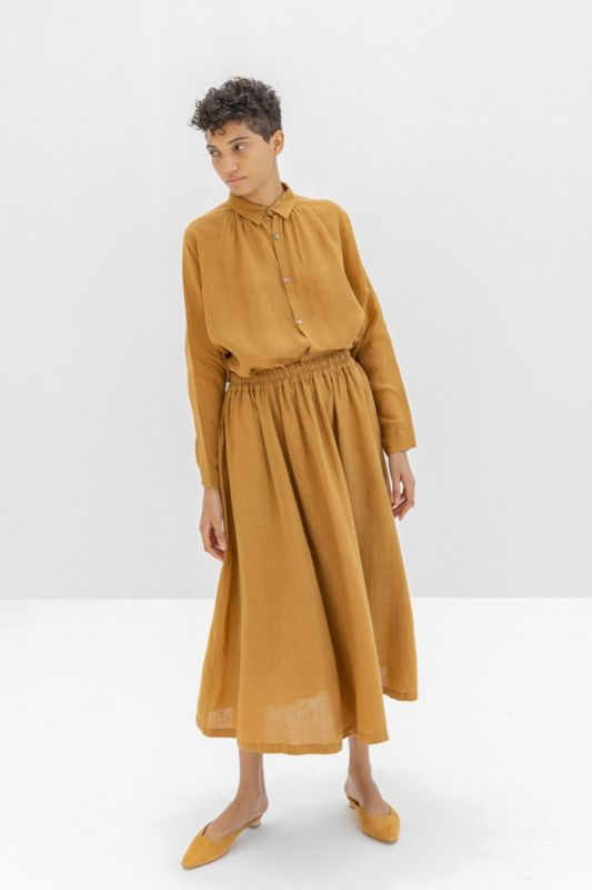 600303 Linen Skirt in Camel
