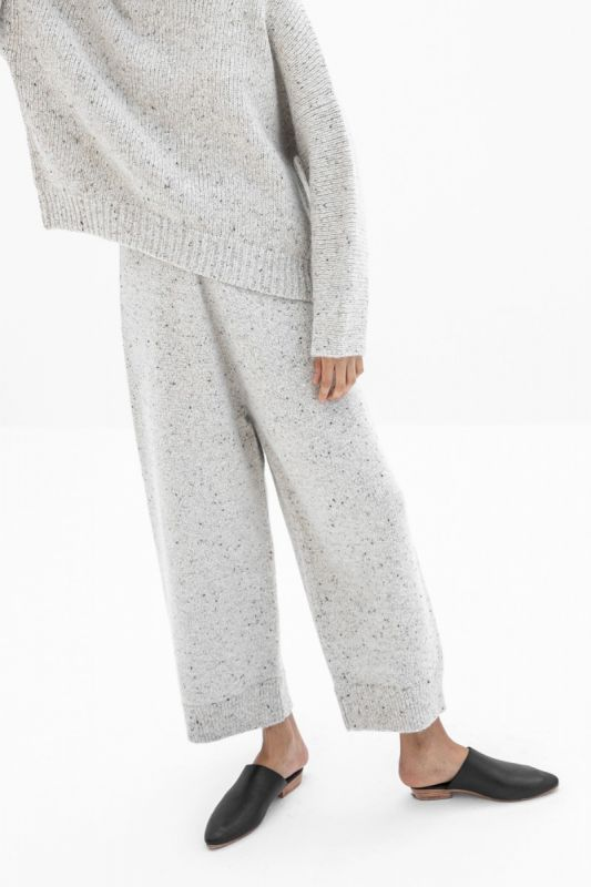 Wide Pants in White Tweed
