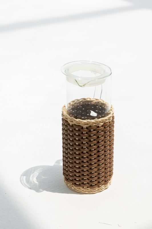 1.2 LT Marseille Leather and Rattan Glass Pitcher in Tobacco