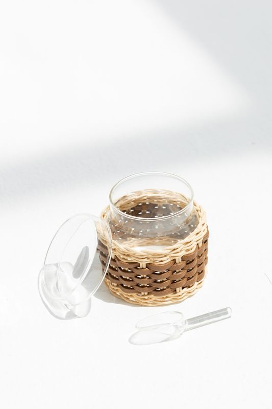 9.5XH 10 CM Deauville Leather and Rattan Sugar Bowl in Tobacco
