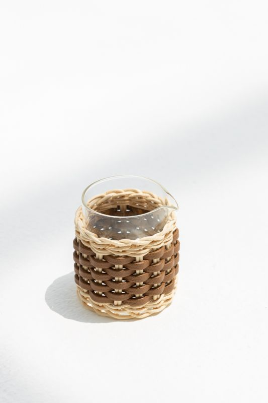 7X H 9.5 CM Deauville Leather and Rattan Milk Jug in Tobacco