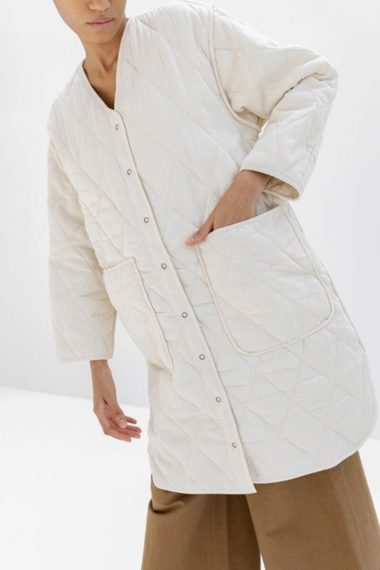 Long Quilted  Jacket in Cream