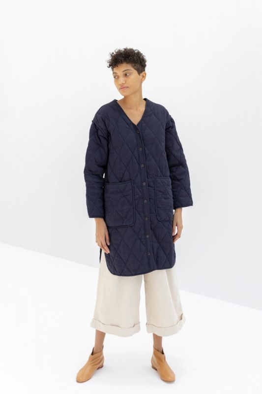Long Quilted  Jacket in Indigo