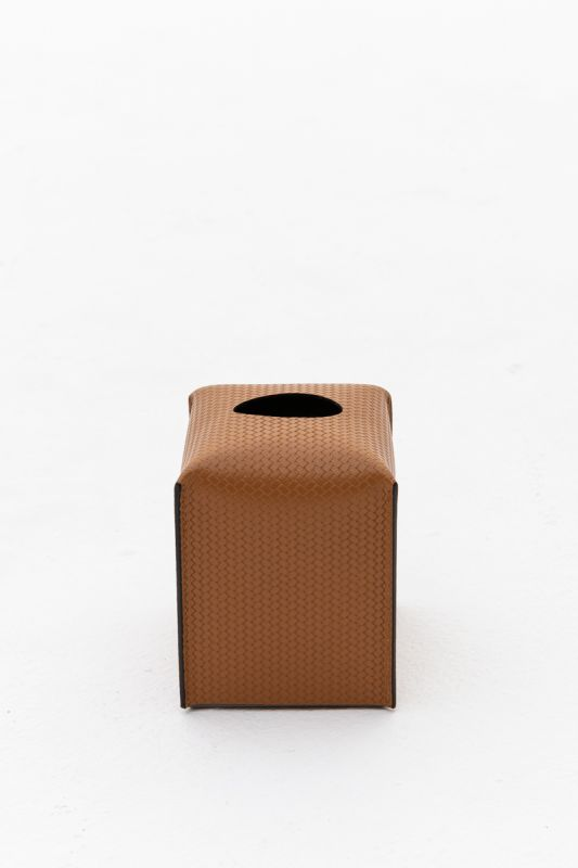 12.2x10.7x12 CM Square Tissue Box in Firenze Camel