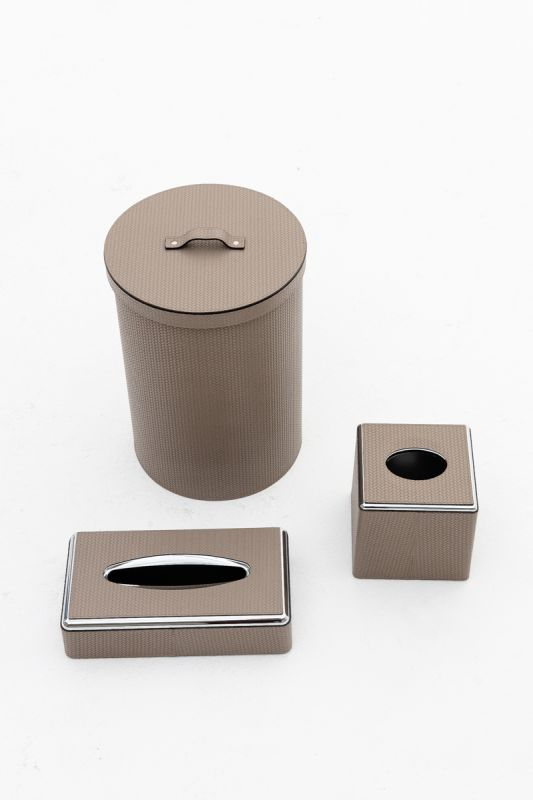 22x31.5 CM Round Bin with Lid in Firenze Taupe