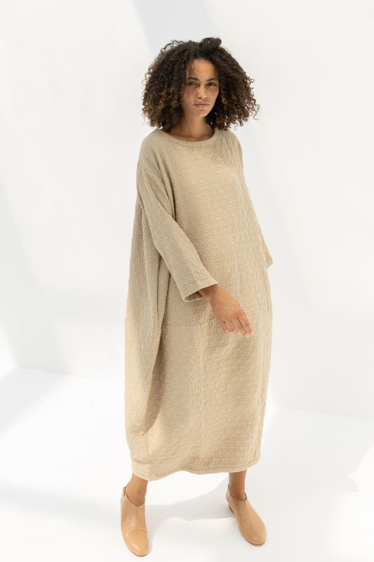 Quilted Lantern Dress in Natural