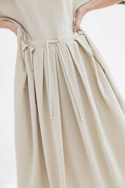 Pleated Dress in Natural