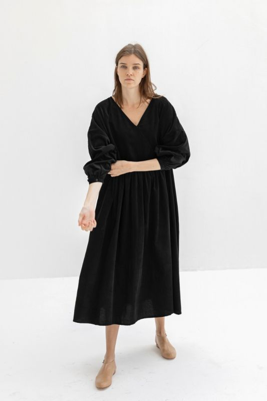 Atlas Dress in Black Corduroy
